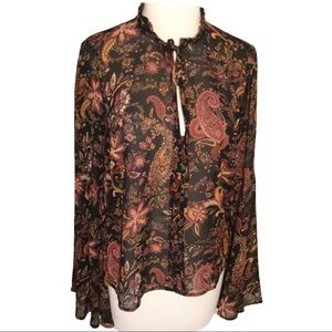 Forever 21 Black Floral Paisley Bell Sleeves S
